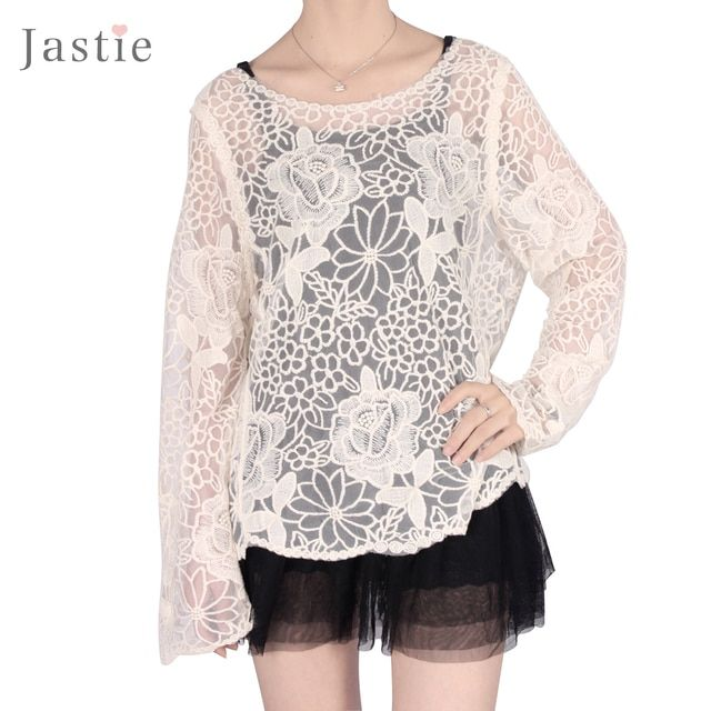 Hot Women Lace Blouse Tops Embroidery Gorgeous Shirts long Sleeve Floral Crochet Women Blouses blusas femininas 2015 plus size