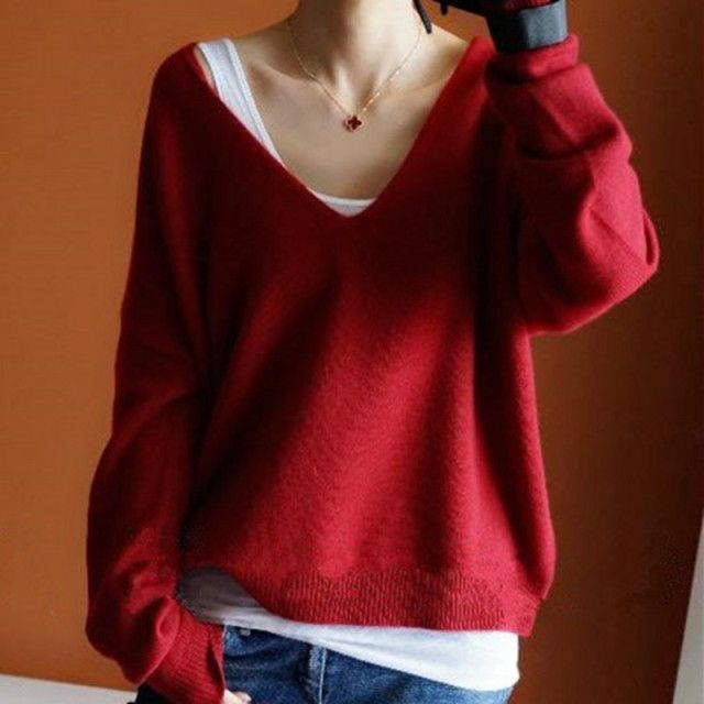 2018 Autumn Winter Cashmere Sweaters Women Fashion Sexy V-Neck Sweater Loose Thickening Wool Sweater Batwing Sleeve Pullover Top