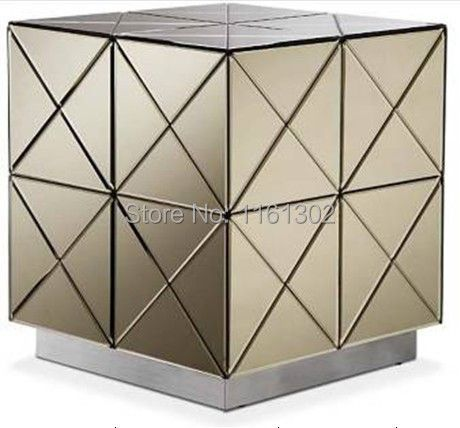 MR-401030 modern beveled mirrored end table