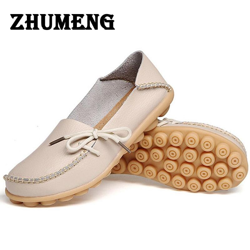 Spring Womens Casual Shoes Flats Oxford Shoes for Ladies Moccasins A Boat Oxfords Loafers Women's Moccasin Real Leather Size 11