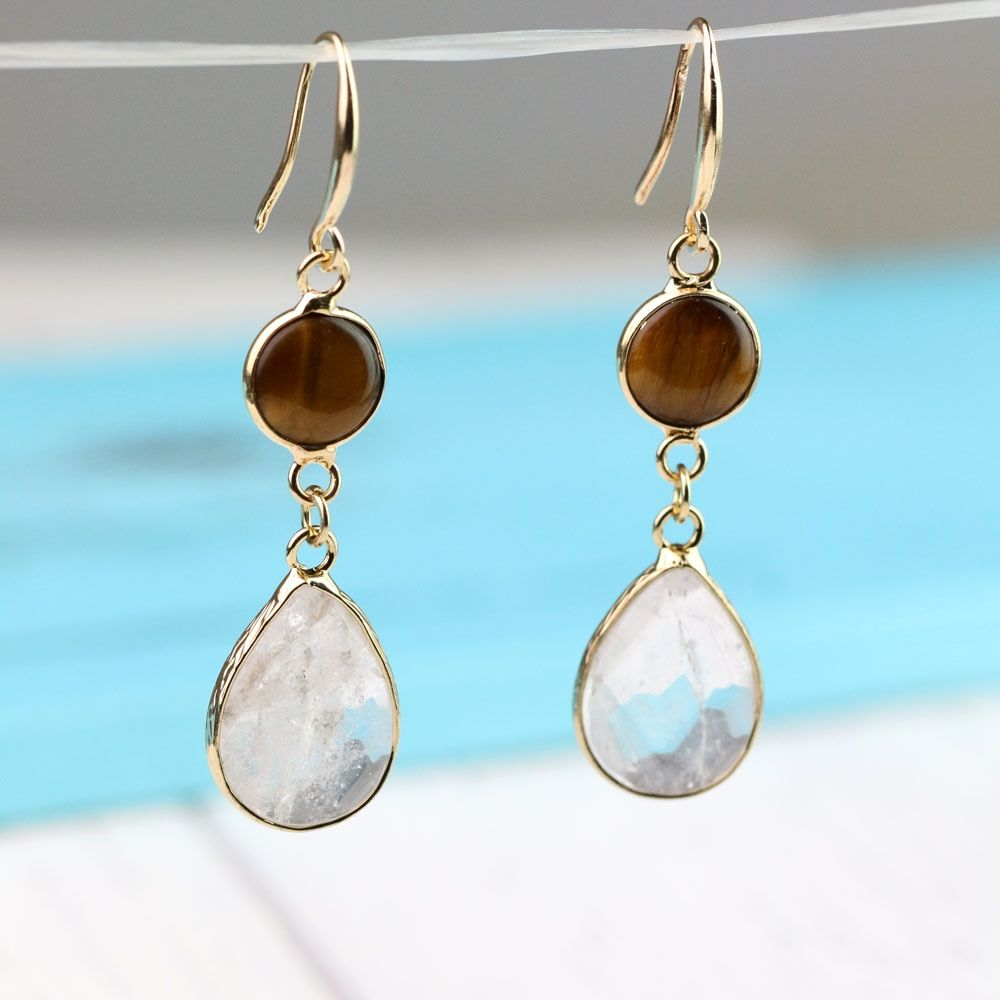 TkuAmigo Simple Natural Stone Earring Brass Bezel Set Clear Quart Drop Tear Water Drop Stone Crystal Earring