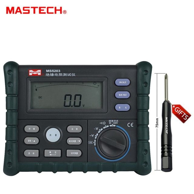 MASTECH Analog and Digital 1000V MS5203 Insulation Resistance Tester megger meter 0.01~10G Ohm with Multimeter