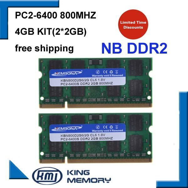KEMBONA 800Mzh 4GB (Kit of 2 2G) DDR2 PC2-6400S 1.8v 200 pins So-DIMM Memory Module Ram Memoria for Laptop / Notebook
