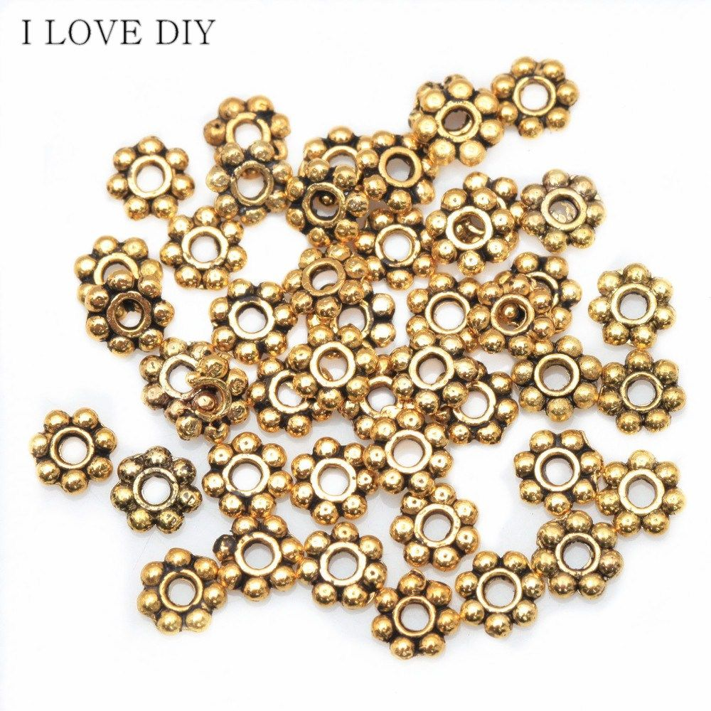 100Pcs Daisy Flower Patterned Spacer Beads Fashion  DIY Beads For Jewelry Making Bracelet