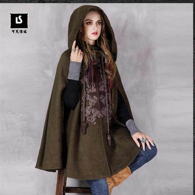 2016 Winter Vintage Embroidery Hooded Thicken Warm Lady Woolen Outerwear Coat High-end Women Cape Shoulder Sleeve Cloak Parka