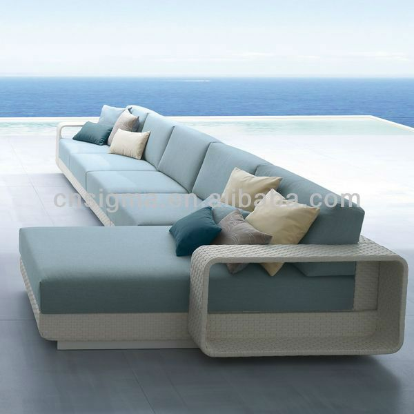 Modern balconies wicker rattan furniture modern blue waiting room sofa set