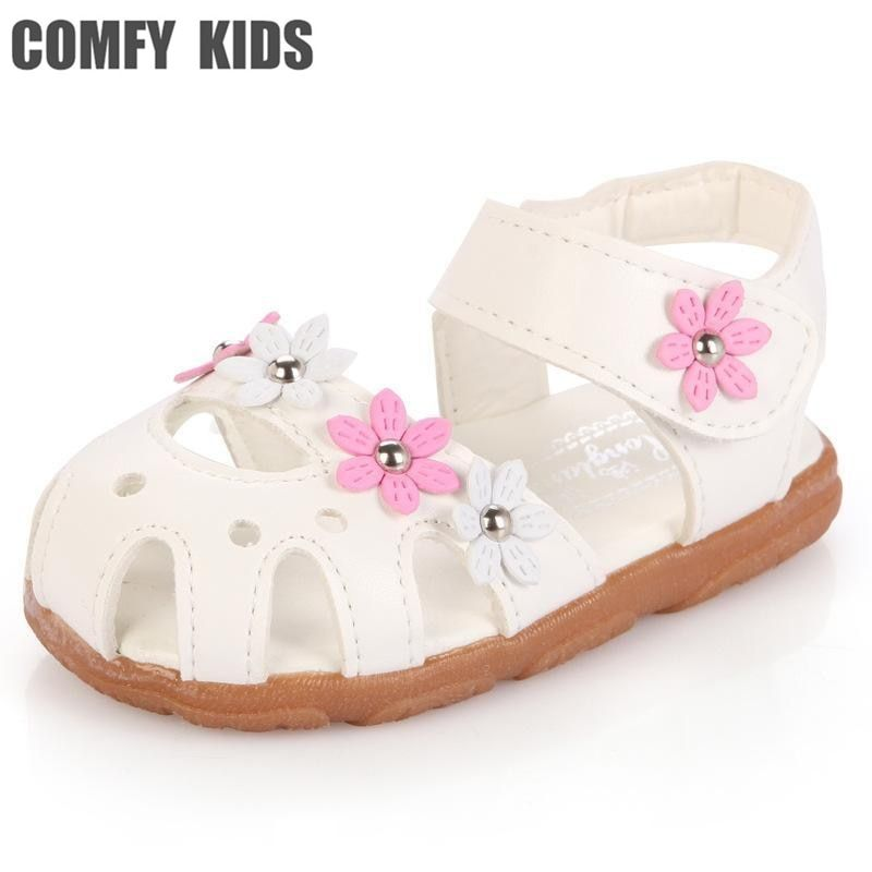 Fashion flower soft bottom child baby sandals shoes leather flat girls baby summer sandals slides shoes for infant toddler shoes