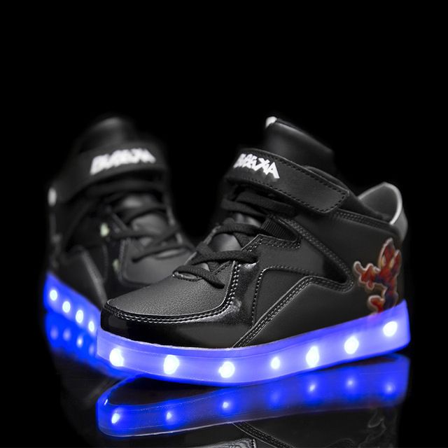 Kids boy Glowing Sneakers Boy Girls Shoes with light Children LED Shoes USB Charging Luminous Spiderman sneaker  tx0408