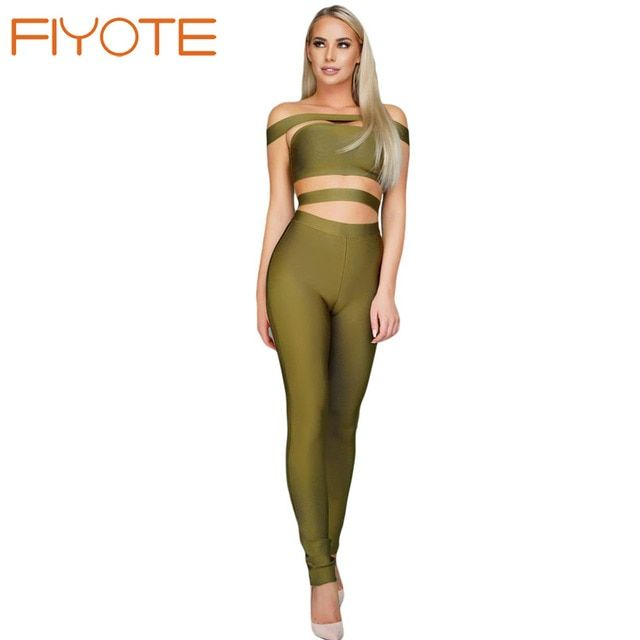 FIYOTE New Fashion Bodysuits Elegant Olive Off The Shoulder Bandage Jumpsuit LC64190 Party Long Rompers combinaison femme