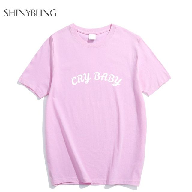 Femme 2017 Cry Baby Pink Cute Cotton Women Men's Unisex Summer Short Sleeve Basic T-shirt Oversize Funny Fashion Plus Size funny