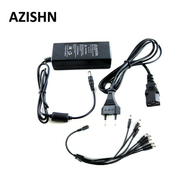 AZISHN AC 100-240V to DC 12V 3A Power Adapter Supply Charger with 1 split 8 power cable adapter For LED Strips Light EU Plug