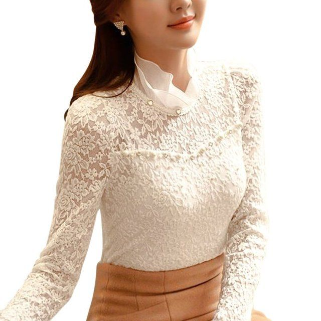 Women Casual Clothes Lace Blouses Summer Autumn New Fashion Elegant White Femininas Long Sleeve Chiffon Blouse
