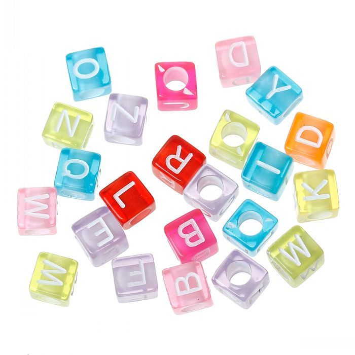 DoreenBeads Acrylic Spacer Beads Cube Mixed Alphabet/Letter Pattern About 6mm x 6mm,Hole:Approx 3.3mm,1000PCs