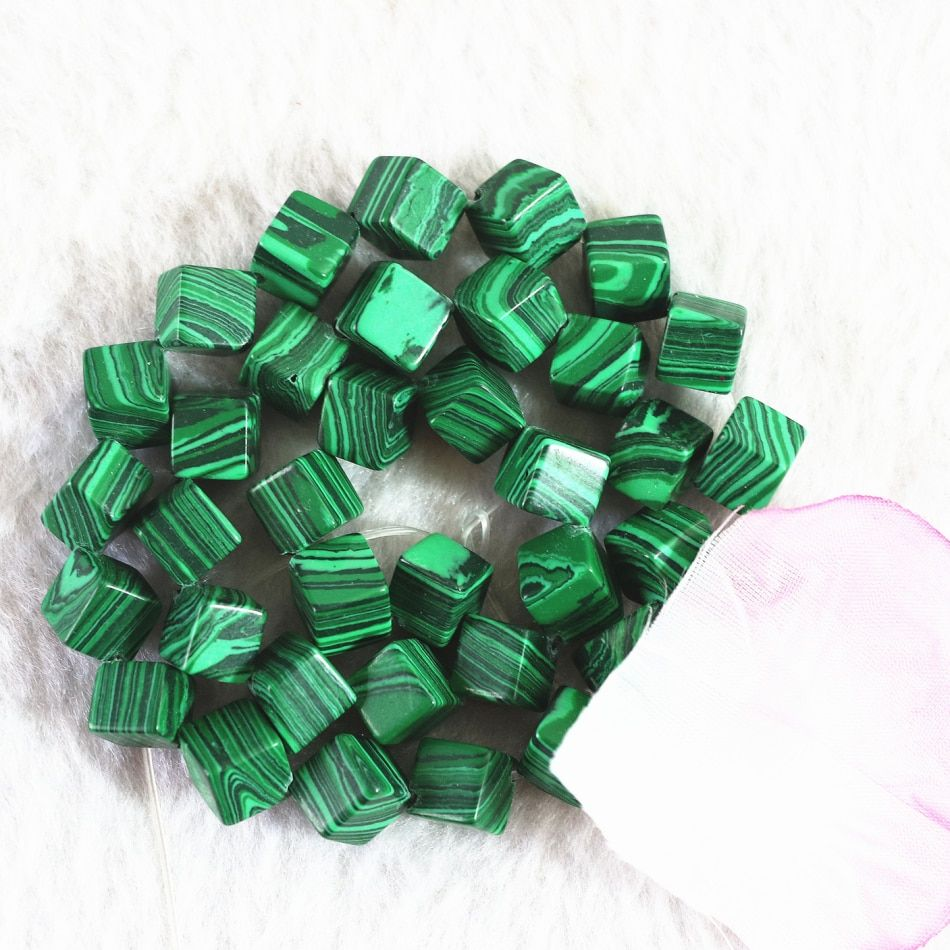 Free shipping artificial green malachite fashion stone 8mm new trendy diagonal cube loose beads diy popular Jewelry 15inch B369