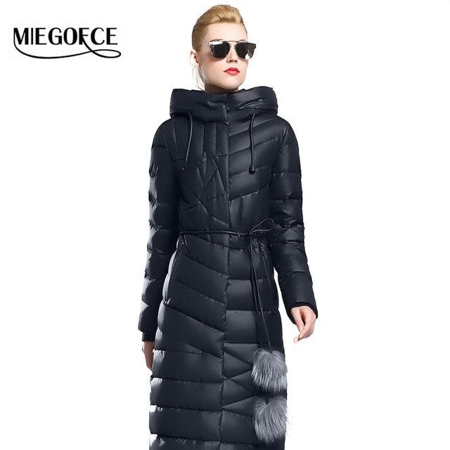 Winter Women Coat Jacket Warm High Quality Woman Parkas Winter Overcoat with Fur Belt MIEGOFCE 2017 New Winter Collection Hot