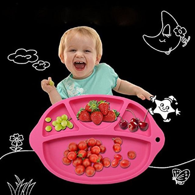 Silicone Baby Dinner Plate Slip-resistant One Piece Silicone Baby Feeding Food Placemat Bowl Children Dishes Tableware CX882189