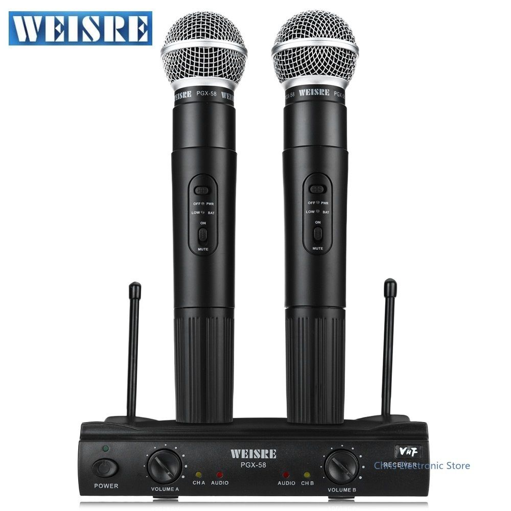 Professional WEISRE PGX58 Wireless System Dual Handheld 2 x Mic Cordless Receiverfor Karaoke Party KTV VHF Microphone