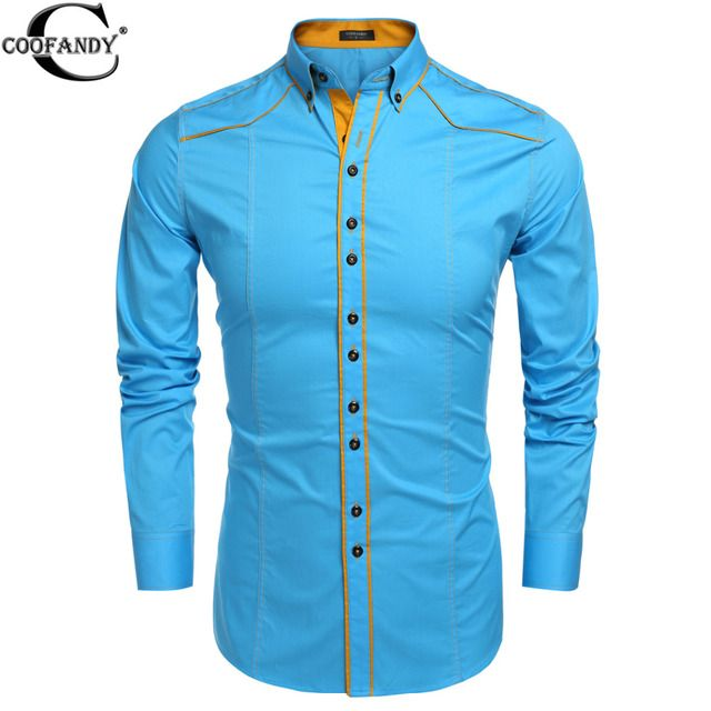 COOFANDY 2017 Brand Spring Men Slim Long Sleeve Turn Down Collar Blouse Shirt  Contrast Color Cotton Button Down Casual Shirts