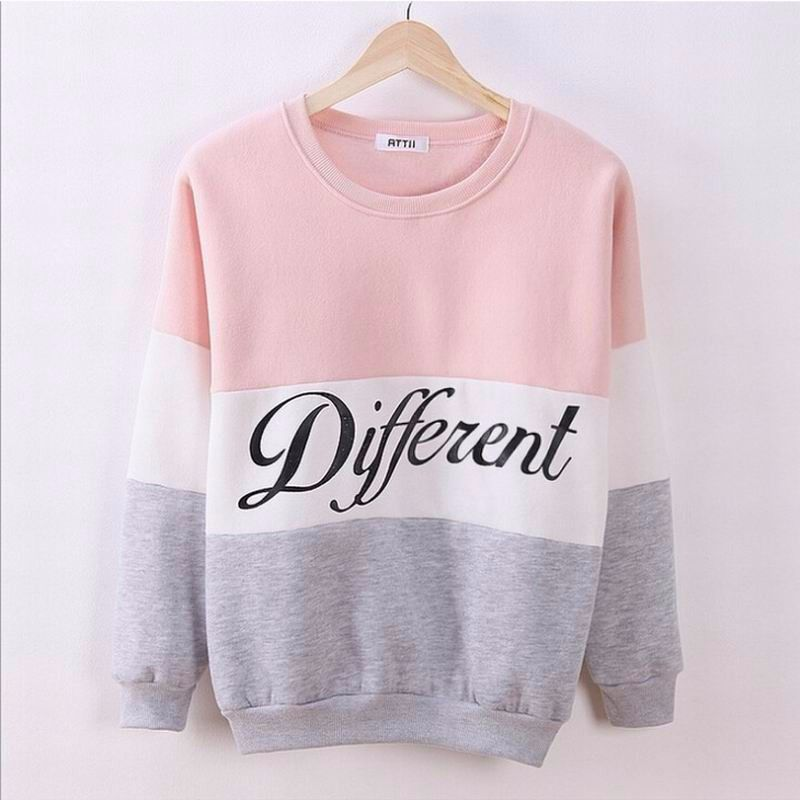 2016 Women Hoodies Sweatshirt Long Sleeve Pink Casual Harajuku letters Design Hoodie For Women Pullovers Sudaderas Mujer