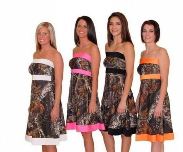 Camouflage Camo Bridesmaid Dresses Short 2017 Cheap Strapless Woman Wedding Party Gowns Knee Length Forest Bridesmaid Dress B171