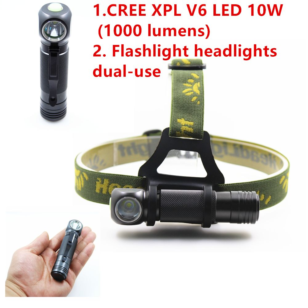 2016 NEW CREE XPL V6 Flashlight Headlights headlamp LED Torch Use 18650 Battery