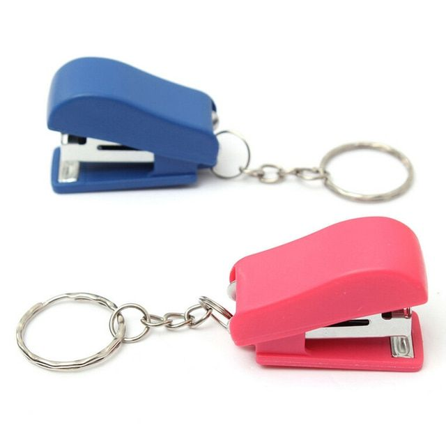Kawaii Mini Stapler Office School Paper Document Bookbinding Staplers with Keychain Stationery Accessories Random Color