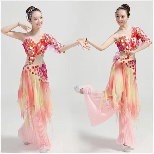 Chinese classical dance clothing poetic myth rhinestone sequined fish dance costumes national/fan/umbrella dance costumes