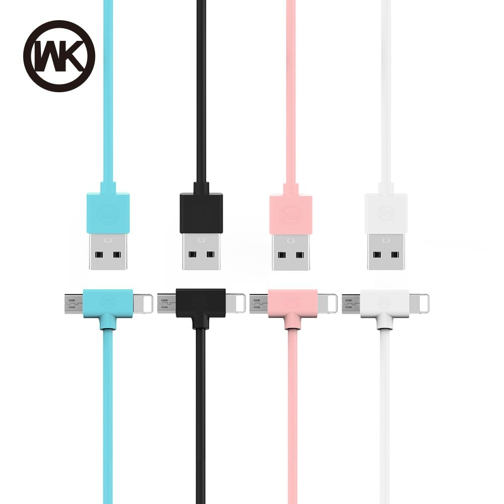 WK USB Cable Micro USB charger cable iPhone 6 6s 7 Plus 5s /Samsung/Meizu for Xiaomi/Huawei 2 in 1 Phone Data Line cable