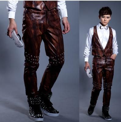 Brown Singer costumes PU faux leather pants for the mens 1 pants man stage trousers Motorcycles mens pants Provide custom