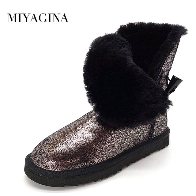 Top Quality New Fashion 100% Genuine Cowhide Leather Snow Boots Real Fur Classic Mujer Botas Waterproof Winter Shoes for Women