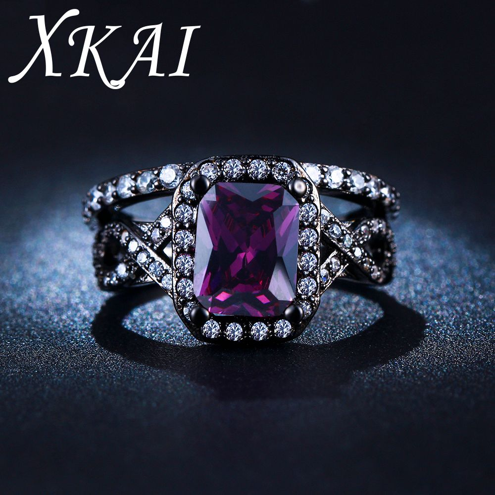 XKAI Black gold color rings for women Purple ring CZ stone jewelry Wedding Engagement women Ring sets bijoux gifts XKR224