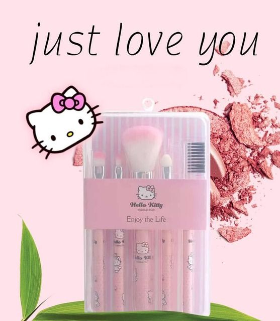 Hello Kitty Pink Cute brushes 5PCS/Set hello kitty set make up brushes pincel maquiagem Makeup Brushes Set
