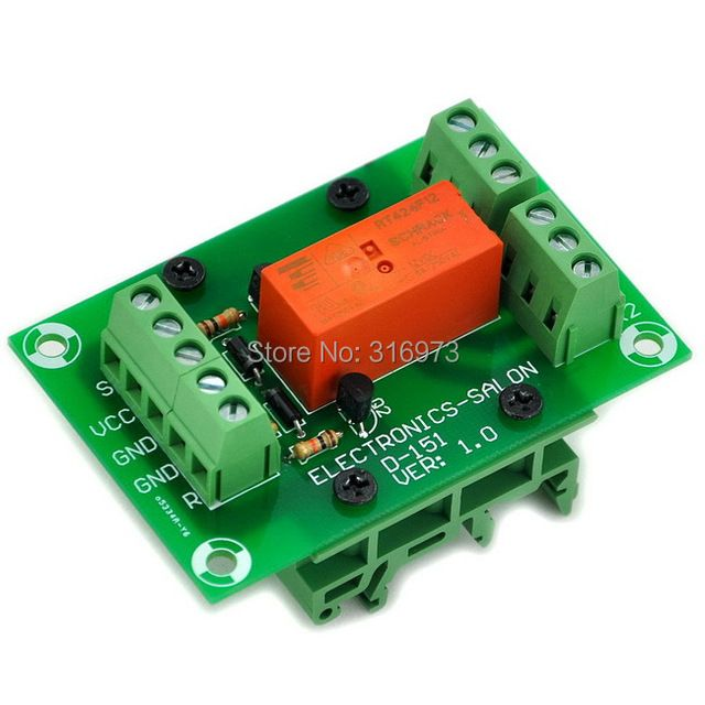 Bistable/Latching DPDT 8 Amp Power Relay Module, DC12V Coil, with DIN Rail Feet