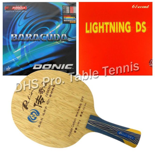Pro Table Tennis Combo Paddle Racket Palio Legend-2 with 61second Lightning DS and Donic BARACUDA 12080 shakehand Long Handle FL