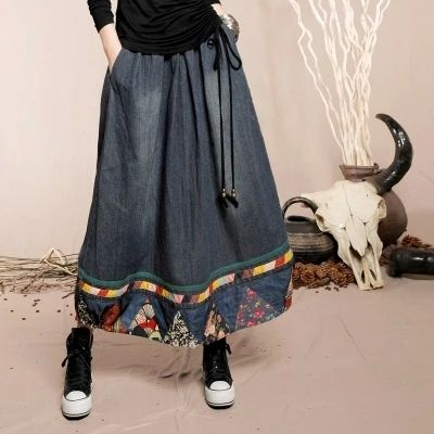 Women Casual Denim Skirt 2016 New National Style Floral Patchwork Loose Long Design Fashion A-Line Skirts Cotton Skirt LS438