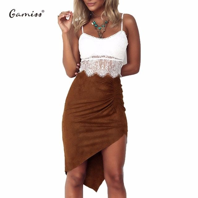 Gamiss Sexy Womens Suede Skirt High Waist Package Hip Pleated And Irregular Hem Bodycon Midi Skirt cowgirl mild Hot club wear