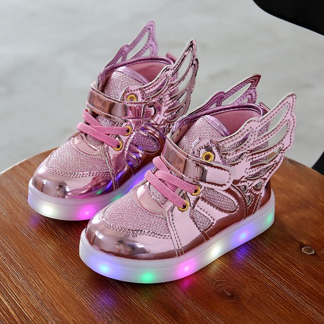 Children shoes with light New Children Lighted Shoes Boy Girl LED Flashing Shoes Kids Fashion Sneakers With Wings Shining