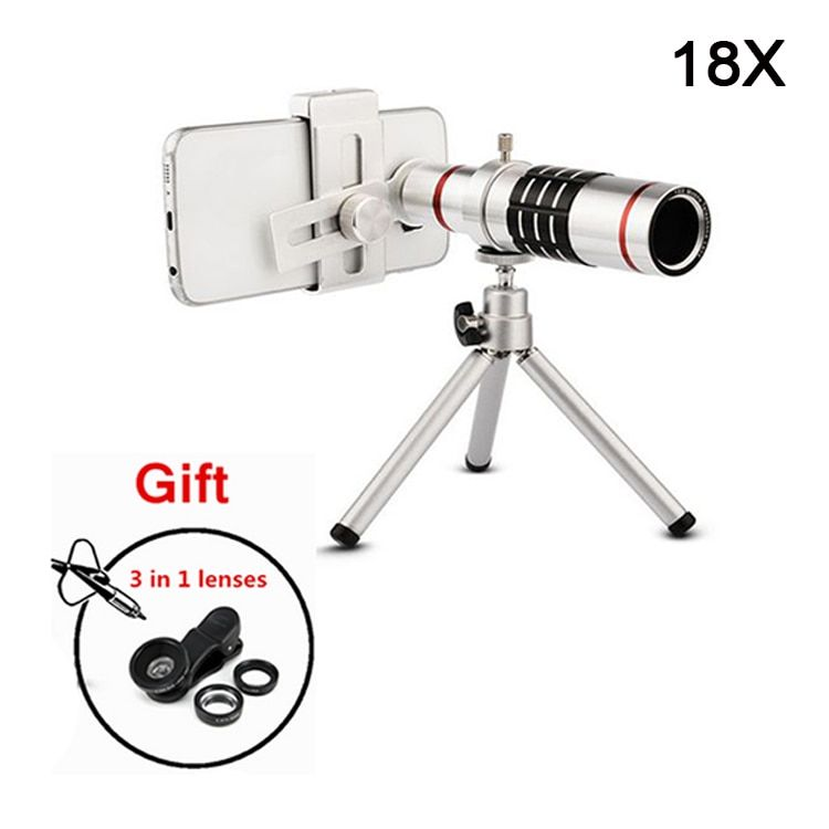 2017 Universal 18x Zoom Optical Telescope Lenses Telephoto Lens With Tripod For iPhone 5s 6 6s 7 8 Plus Mobile Phone Lentes Kit