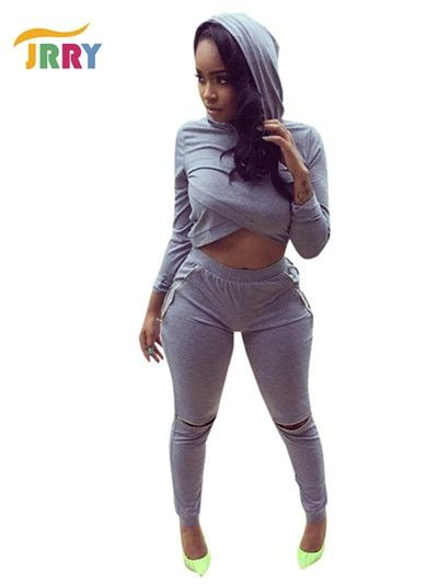 Fashion New Two Pieces Women Hoodie Jumpsuit Long Sleeve Crop Top Zippers Holes Long Bodycon Pants Ladies Romper
