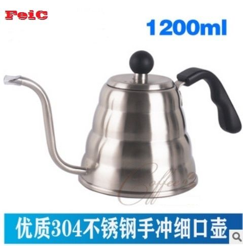 FeiC 1pc 1.2L Hario Style V60 Tea and Coffee Drip Kettle pot stainless steel gooseneck spout Kettle hot water for Barista