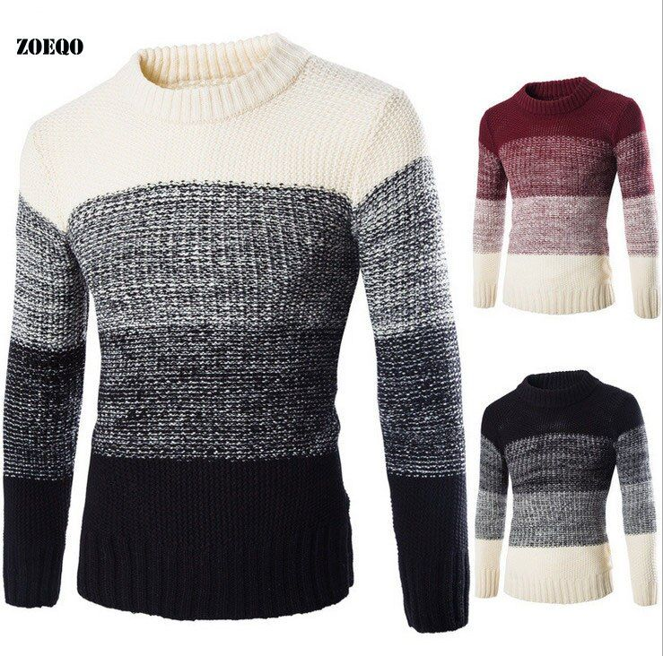 ZOEQO Autumn winter new High Quality Fashion Pullover Men Knitted Slim Sweater Jumper Mens Casual V-neck Sweaters pull homme