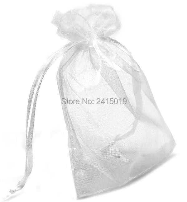 Cheap fine 100pc9x12cm White organza wedding baby shower gifts candies sweets pouch bag party table decoration party favors pack