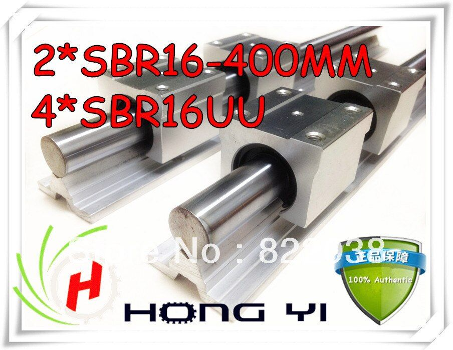 2 pcs SBR16 L = 400mm linear bearing supported rails +4 pcs SBR16UU straight-line motion block for SFU1605 Ball screw