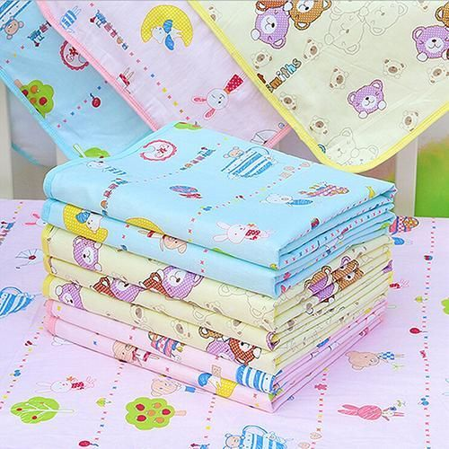 S size Yellow Blue Pink Baby Waterproof Urine Mat Cover Cartoon Cotton Reusable Washable Changing Pad  With High Quality