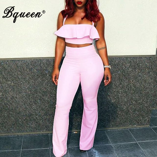 Bqueen Wholesale Price 2016 New Pink Ruffles Off Shoulder Top  Crop Top Flare Pants Suits  Full-length