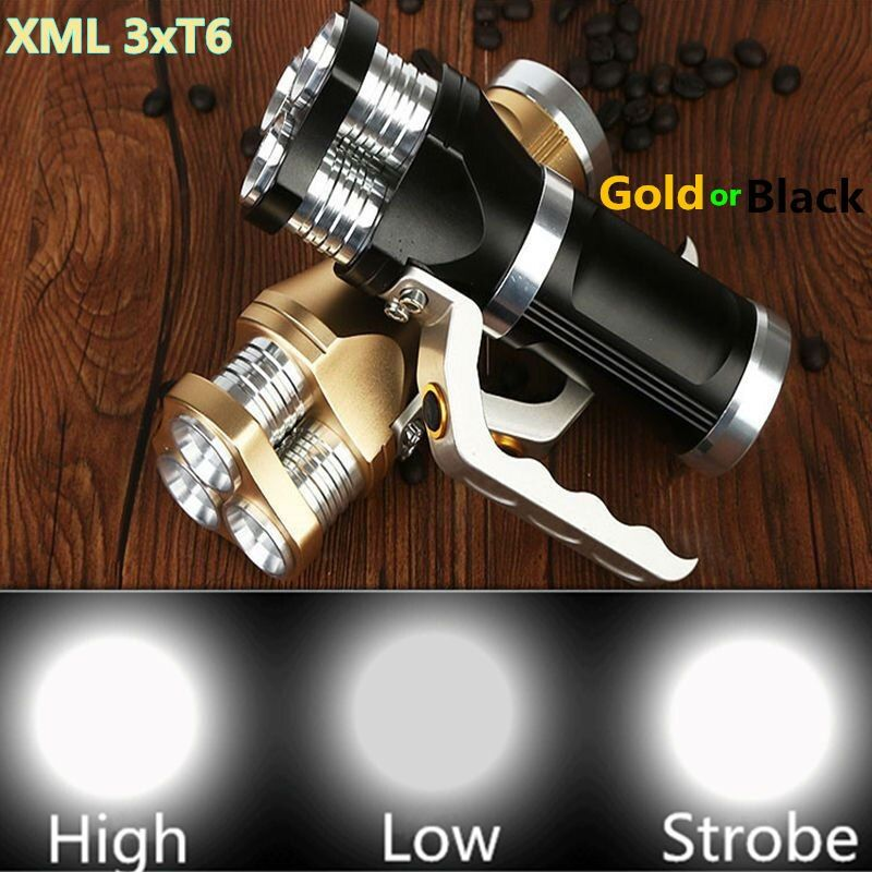 6000LM LED Flashlight Torch 3xXM-L XML T6 LED Rechargeable Torch Gold or Black Tactical Flash lamp light For 3x18650 Battery