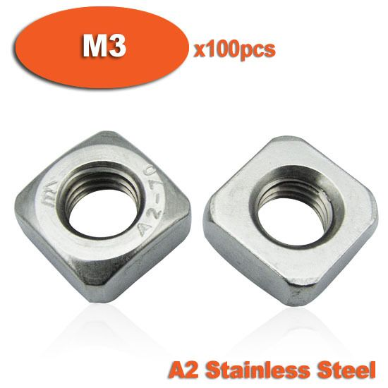 100pcs DIN557 M3 A2 Stainless Steel Metric Square Nuts