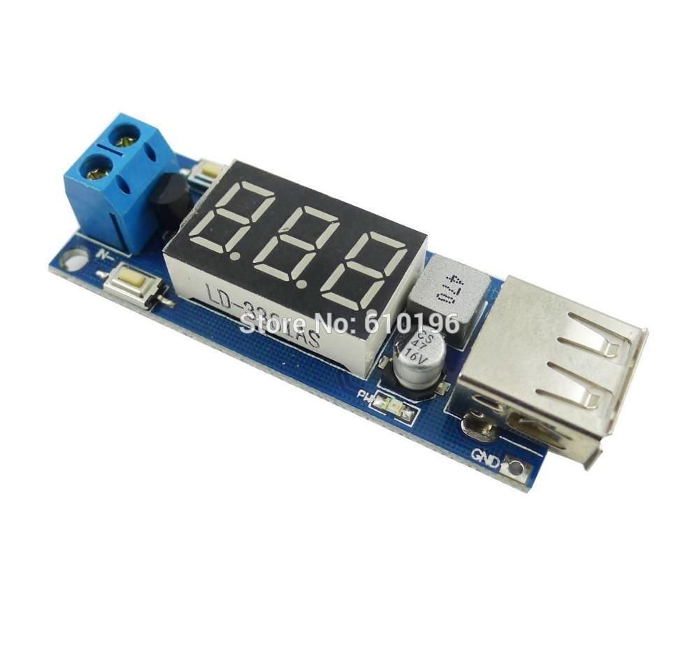 10PCS/LOT DC-DC Step Down Module Two-wire Voltmeter +5 V USB Charger or Power Supply Input 4.5v-40v Output 5V/2A