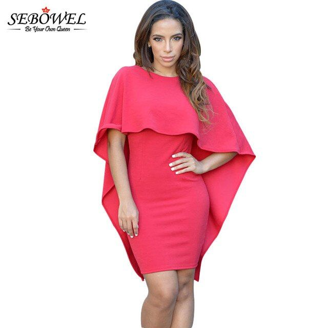 2017 SEBOWEL New Fashion Black Red White Batwing Sleeve Women Poncho Cape Cloak Dress Womens Casual Backless Bodycon Mini Dress