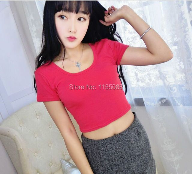 10pcs/lot Summer Sexy Crop Top Ladies Short Sleeve t shirt women tops Basic Stretch T-shirts Bare-midriff solid color easy match